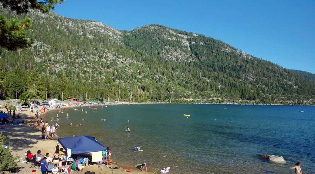 Main beach at Sand Harbor, Lake Tahoe – Nevada State Park, Nevada, on Lake Tahoe.