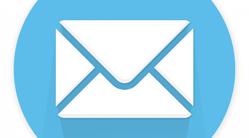 An envelope on a blue background